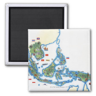Map of southeastern Asia 2 Inch Square Magnet