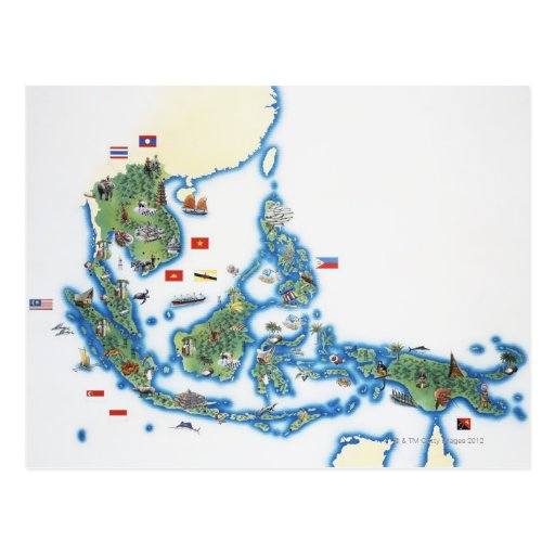 Map of southeastern Asia Post Cards