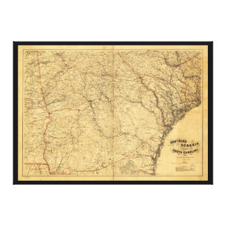 Map of Southern Georgia and part of South Carolina Canvas Print