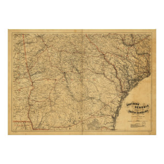 Map of Southern Georgia and part of South Carolina Poster