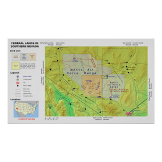 Map of Southern Nevada Federal Land Called Area 51 Poster