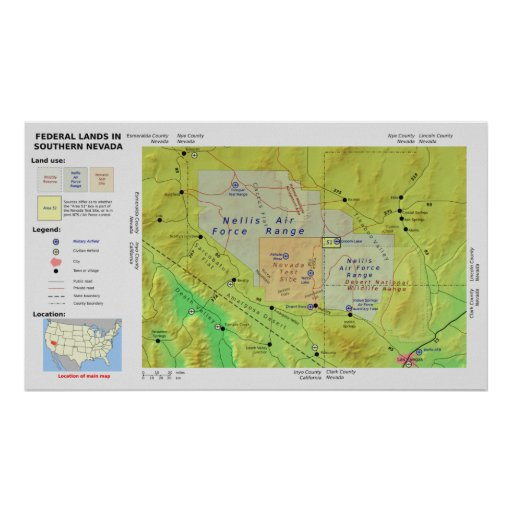 Map Of Southern Nevada Federal Land Called Area 51 Print