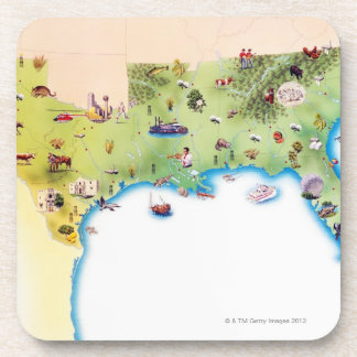 Map of Southern United States of America, with Coaster