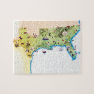 Map of Southern United States of America, with Jigsaw Puzzle