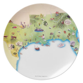 Map of Southern United States of America, with Melamine Plate