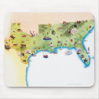 Map of Southern United States of America, with Mouse Pad