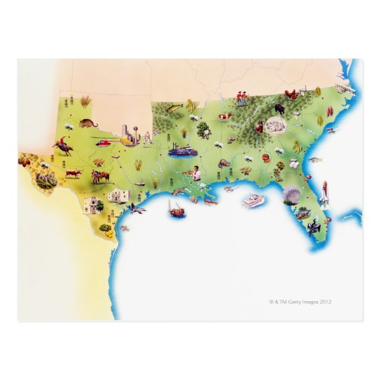 Map of Southern United States of America, with Postcard