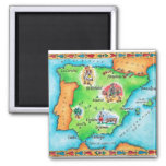 Map of Spain 2 Inch Square Magnet