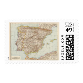 Map of Spain and Portugal Postage Stamp