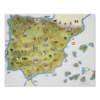 Map of Spain and Portugal Poster