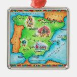 Map of Spain Metal Ornament