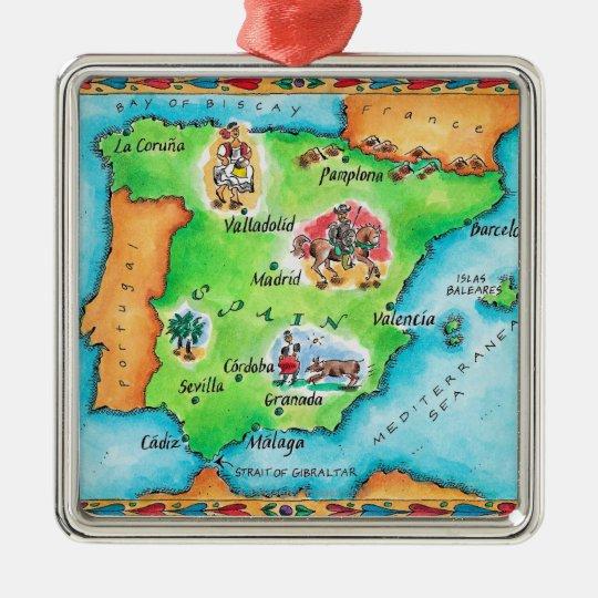 Map Of Spain Metal Ornament Zazzle Com