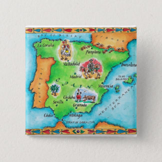 Map of Spain Pinback Button
