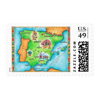 Map of Spain Postage Stamps