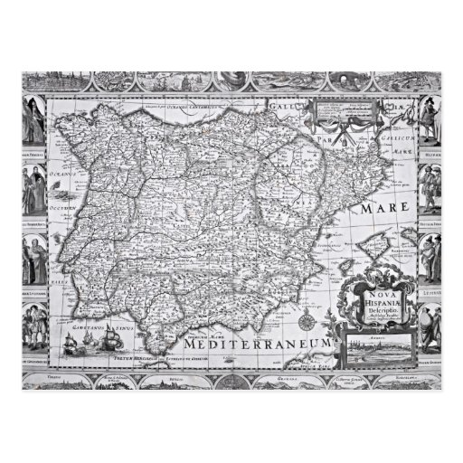 Map of Spain Post Card