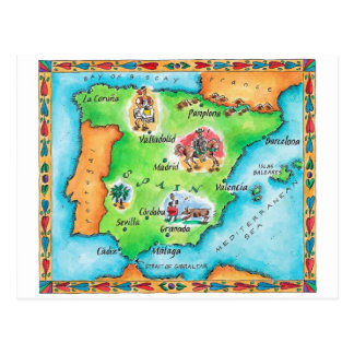 Map of Spain Postcard