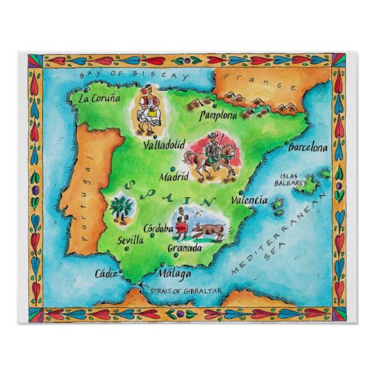 Map Of Spain Poster Zazzle Com