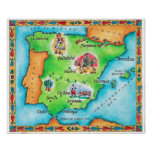 Map of Spain Posters
