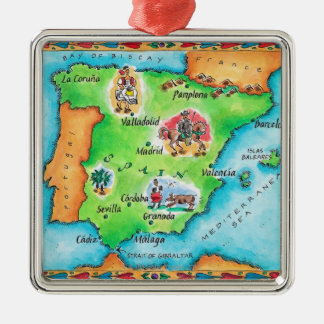 Map of Spain Square Metal Christmas Ornament