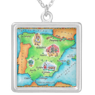 Map of Spain Square Pendant Necklace