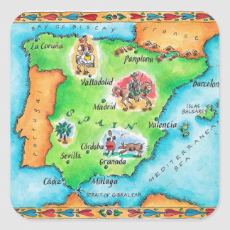 Map of Spain Square Sticker