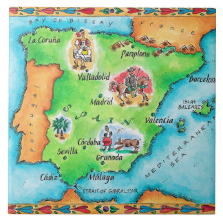 Map of Spain Large Square Tile