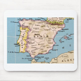 Map of Spain Vintage Design Mouse Pad