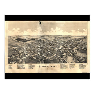 Map of Springville New York (1892) Postcard
