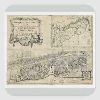 Map of St. Augustine Florida (1764) Square Sticker