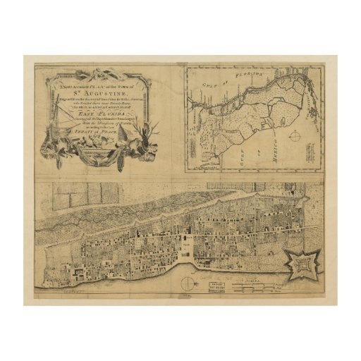 Map of St. Augustine Florida (1764) Wood Wall Art | Zazzle