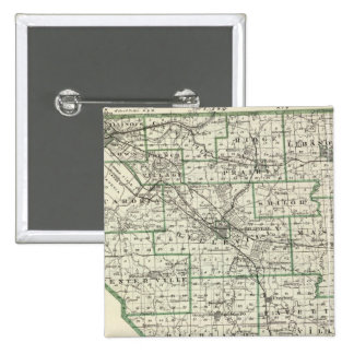 Map of St Clair County, Lebanon and Carlyle 2 Inch Square Button
