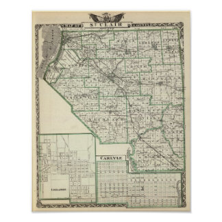 Map of St Clair County, Lebanon and Carlyle Poster