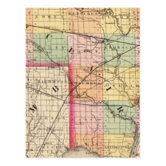 Map of St Clair County, Michigan Postcard