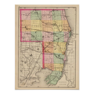 Map of St Clair County, Michigan Poster
