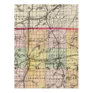 Map of St Joseph County, Michigan Postcard
