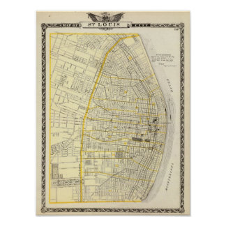 Map of St Louis City Poster