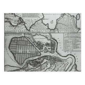Map of St.Petersburg, c.1750 Postcard