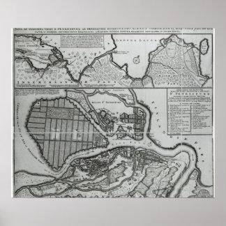 Map of St.Petersburg, c.1750 Poster