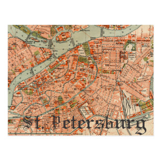 Map of St Petersburg Postcard