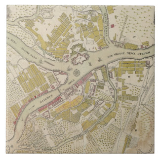 Map of St. Petersburg, Russia, created in 1737 Ceramic Tile