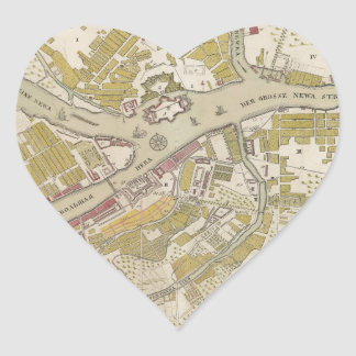 Map of St. Petersburg, Russia, created in 1737 Heart Sticker