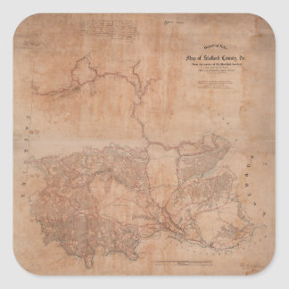Map of Stafford County Virginia (1863) Square Sticker