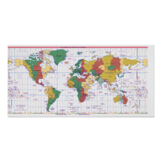 Map of Standard Times Zones of the World Poster
