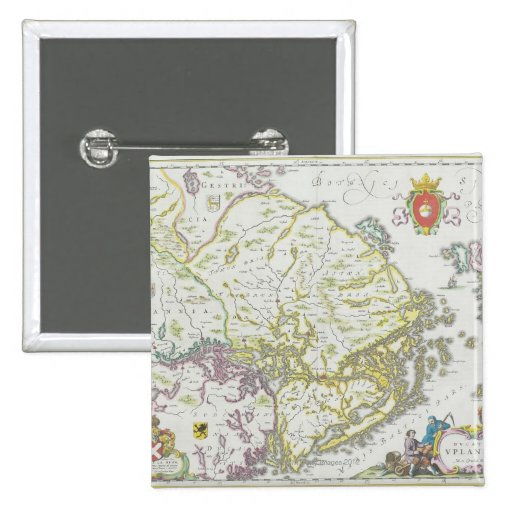 Map of Stockholm, Sweden 2 Inch Square Button