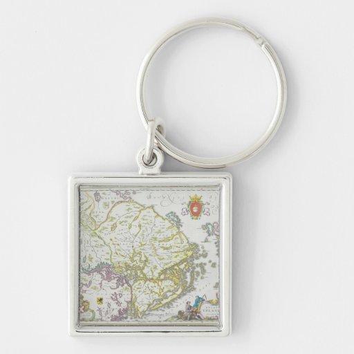 Map of Stockholm, Sweden Silver-Colored Square Keychain