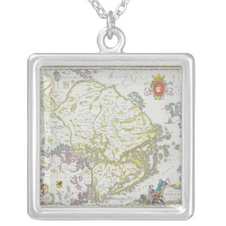 Map of Stockholm, Sweden Silver Plated Necklace