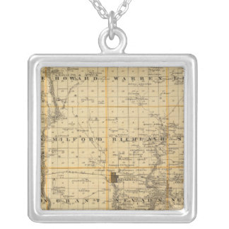 Map of Story County, State of Iowa Silver Plated Necklace