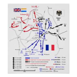 Map of Strategic Movements in Waterloo Campaign Poster