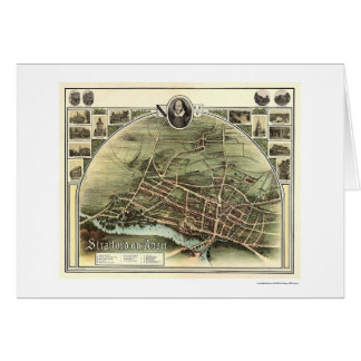 Map of Stratford on Avon, England by Brown 1908 Card