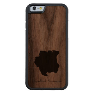 Map of Suriname: Classic Design Carved Walnut iPhone 6 Bumper Case